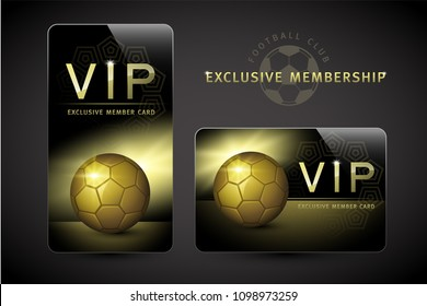 Membership, Member Club, Football Club, Soccer, Gold, Platinum, Exclusive, Luxury, Celebrity, First Class, VIP Member Card Design, Vector, Illustration