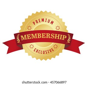 Membership seal with red curved banner. Premium and Exclusive.