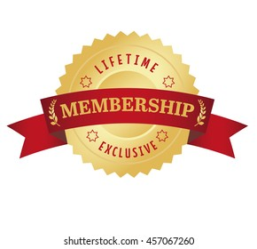 Membership seal with red curved banner. Exclusive and lifetime access.
