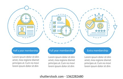 Membership, subscription vector infographic template. Tariff plans. Account registration. Data visualization with three steps and options. Process timeline chart. Workflow layout with icons