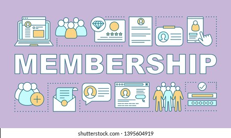 Membership word concepts banner. Customer data. Website registration. Personal account. Presentation, website. Isolated lettering typography idea with linear icons. Vector outline illustration