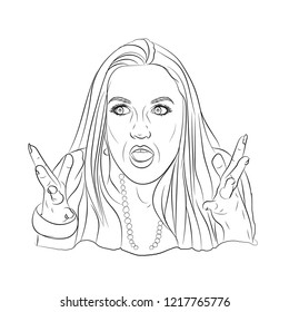 meme emotion girl. surprise and misunderstanding. illustration sketching vector on a white background