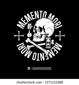 Memento mori. Design for print t-shirts, stickers and more. Vector.