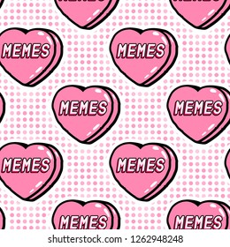 Memes seamless pattern. Funny, cartoon, comic style.