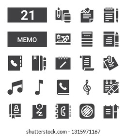 memo icon set. Collection of 21 filled memo icons included Note, Music memos, Agenda, Push pin, Notes