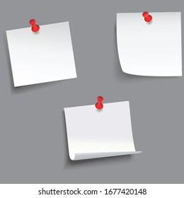 Memo notes icons detailed photo realistic vector set