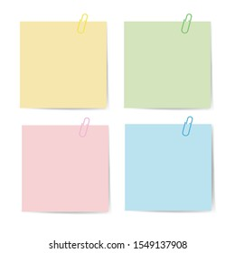 Memo paper with paperclip for office paperwork. Fastener, paperclip with blank notepaper. Attaching binder with white note sheet. Set of isolated color paperclip for text. Clips and list. vector eps10