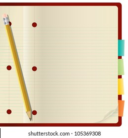 Memo paper, pencil and paper clips with red notebook, Vector