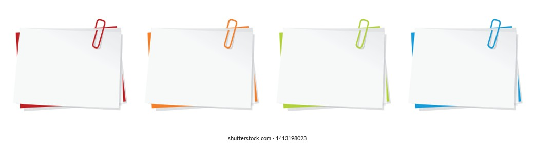 Memo (paper sticky note) with paperclip (in 4 colors)