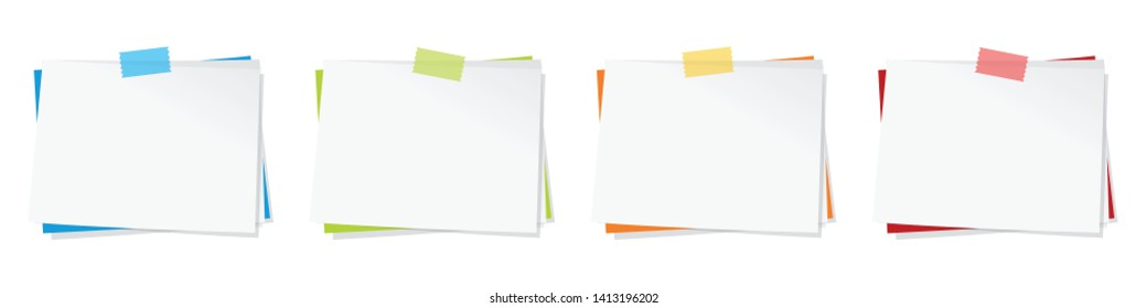 Memo (paper sticky note) with piece of tape (in 4 colors)