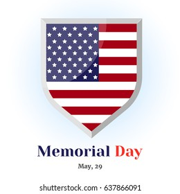 Memorial badge with american flag. Icon for your design isolated on blue background in cartoon style for Memorial Day. Vector illustration. Holiday Collection.