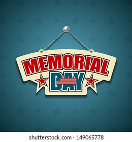 Memorial Day American signs hanging with chain, star background, vector illustration