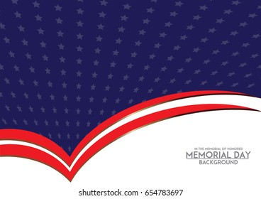 Memorial Day background template in American flag style.