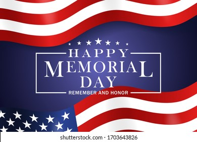 Memorial Day background. Template for Memorial Day festive design. Memorial Day greeting card with stars and stripes. Vector illustration.