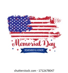 Memorial Day background vector illustration. Vector grunge american flag on white background. USA flag. Patriotic illustration