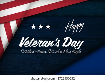 Memorial Day background. Vector illustration with text, stars and ribbon for posters, decoration. White text