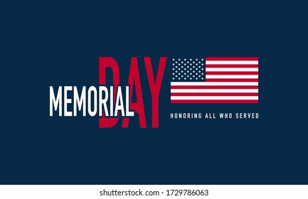 Memorial Day Background Vector Illustration. Honoring All Who Served.
