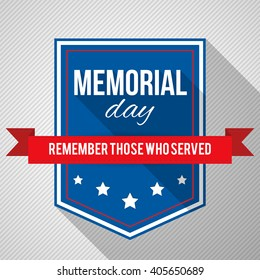 Memorial Day background. Vector illustration with text, stars and ribbon for posters, decoration. White text with long shadows.