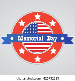 Memorial Day background. Vector illustration in national flag colors with text, stars and ribbon for posters, decoration.