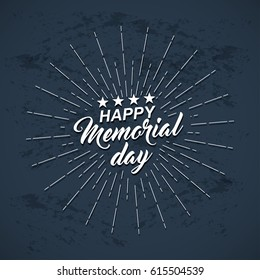 Memorial Day background with white stars, lettering and rays of burst. Template of greeting card for Memorial Day. Vector illustration.