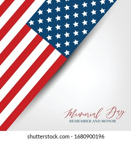 Memorial Day banner background with American flag. United States of America holiday. Vector illustration.