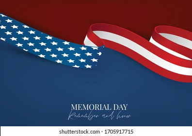 Memorial Day banner or flyer background with American flag ribbon. United States of America national holiday. Vector illustration.