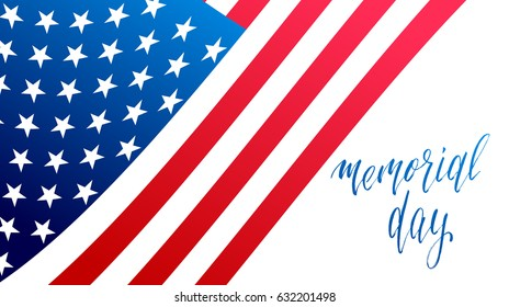 Memorial Day banner. Illustration with Memorial calligraphy