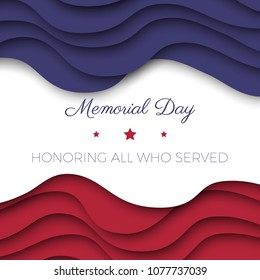 memorial day banner template with paper cut colorful layers and text for greeting cards, posters, invitations, brochures
