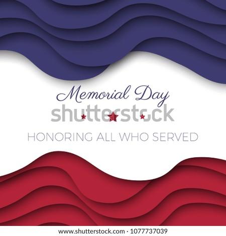 memorial day banner template paper cut のベクター画像素材