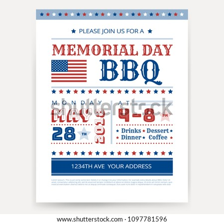 Memorial Day Barbeque Bbq Flyer Leaflet Stock Vector Royalty Free