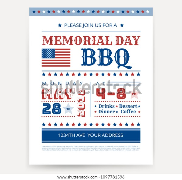 Memorial Day Barbeque Bbq Flyer Leaflet Stock Vector (Royalty Free ...