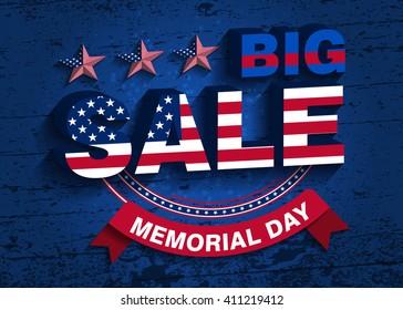 Memorial Day. Big Sale Vector Illustration