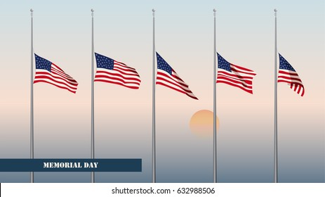 Memorial Day card. Flags USA at half-mast against the backdrop of the dawn sky. Aspect Ratio 16:9. Color vector illustration.