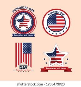 memorial day celebration set icons