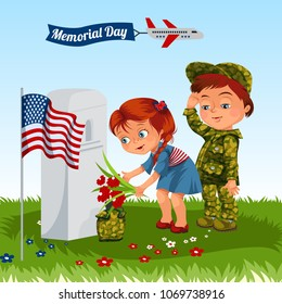 Memorial Day, childs in military uniform on cemetery, little girl and boy on grave war veteran, family children honoring memory fallen heroes, us flag vector illustration