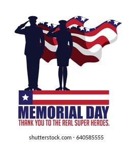 Memorial Day design with saluting soldiers. EPS 10 vector.
