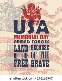 Memorial day greeting card. Poster with US flag
