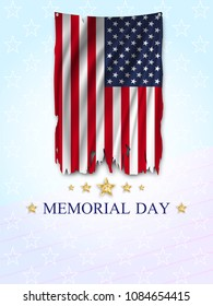Memorial Day greeting card. Ripped US flag on light background. National holiday of the USA. Vector illustration.