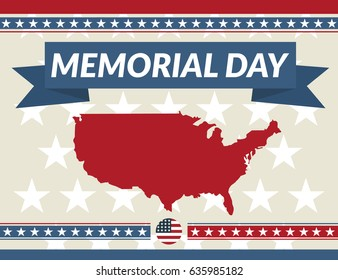 Memorial Day greeting card. Vector illustration.