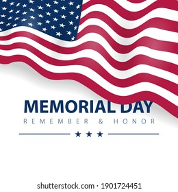 Memorial day of hero, veteran united states of america remember. USA flag glory on vector poster card.