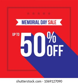Memorial Day Holiday Sale Up To 50% Off Vector Illustration