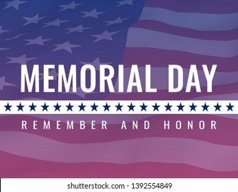 Memorial day, honoring all who served -poster with the flying flag of the USA with glow