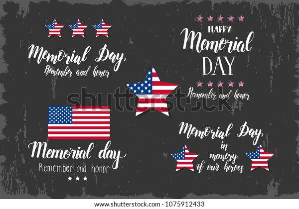 Memorial Day Lettering Set National American Stock Vector Royalty