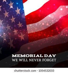 Memorial Day on American flag background. Vector illustartion