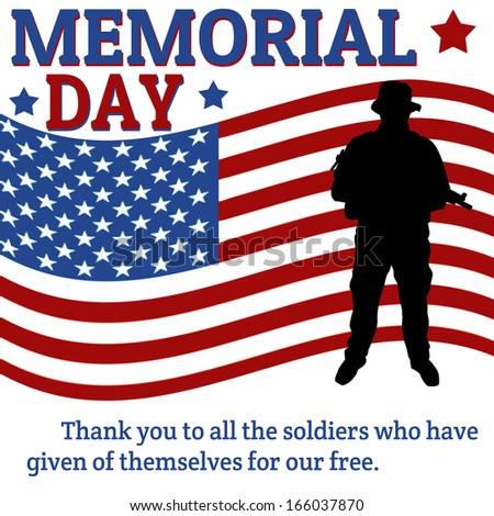 memorial day poster soldier over flag stock vector royalty free
