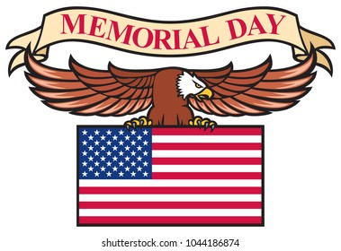 Memorial Day poster with USA flag
