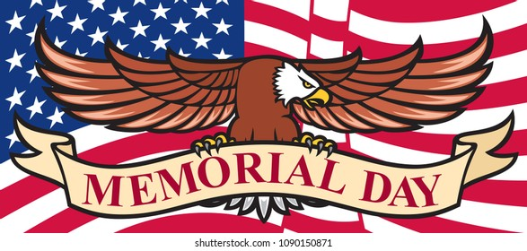 Memorial Day poster with USA flag and eagle
