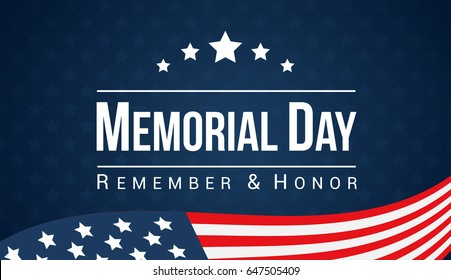 Memorial Day - Remember and honor with American flag, Vector illustration.