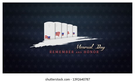 memorial day remember and honor background,united states flag, with respect honor and gratitude posters, modern design vector illustration