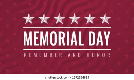 Memorial Day - Remember and Honor greeting card with inscription on red patriotic background with stars and stripes